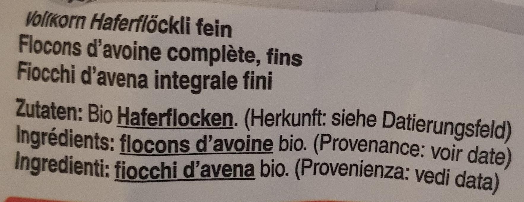 Fiocchi d'avena integrale - Ingrédients - fr