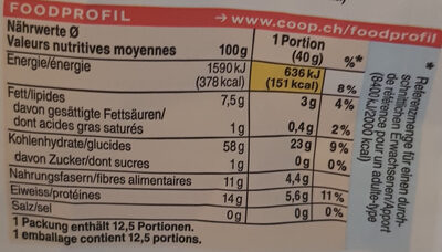 Fiocchi d'avena integrale - Informations nutritionnelles - fr
