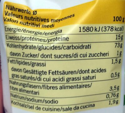 Chapelure - Nutrition facts