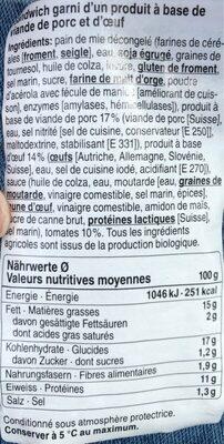 Sandwich Jambon d'épaule-oeuf - Nutrition facts - fr