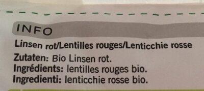 Linsen rot - Ingredienti - fr