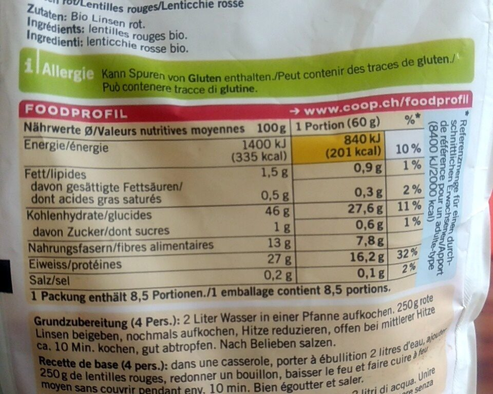 Linsen rot - Valori nutrizionali - fr
