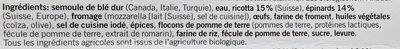 Bio Tortelli Ricotta & Spinaci - Inhaltsstoffe