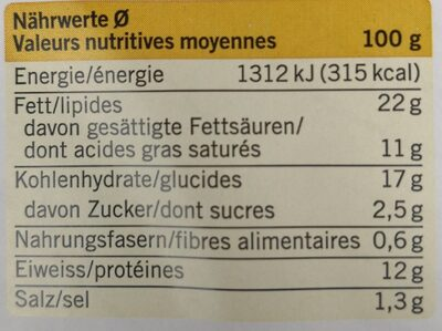 Käsewähe - Voedingswaarden - fr