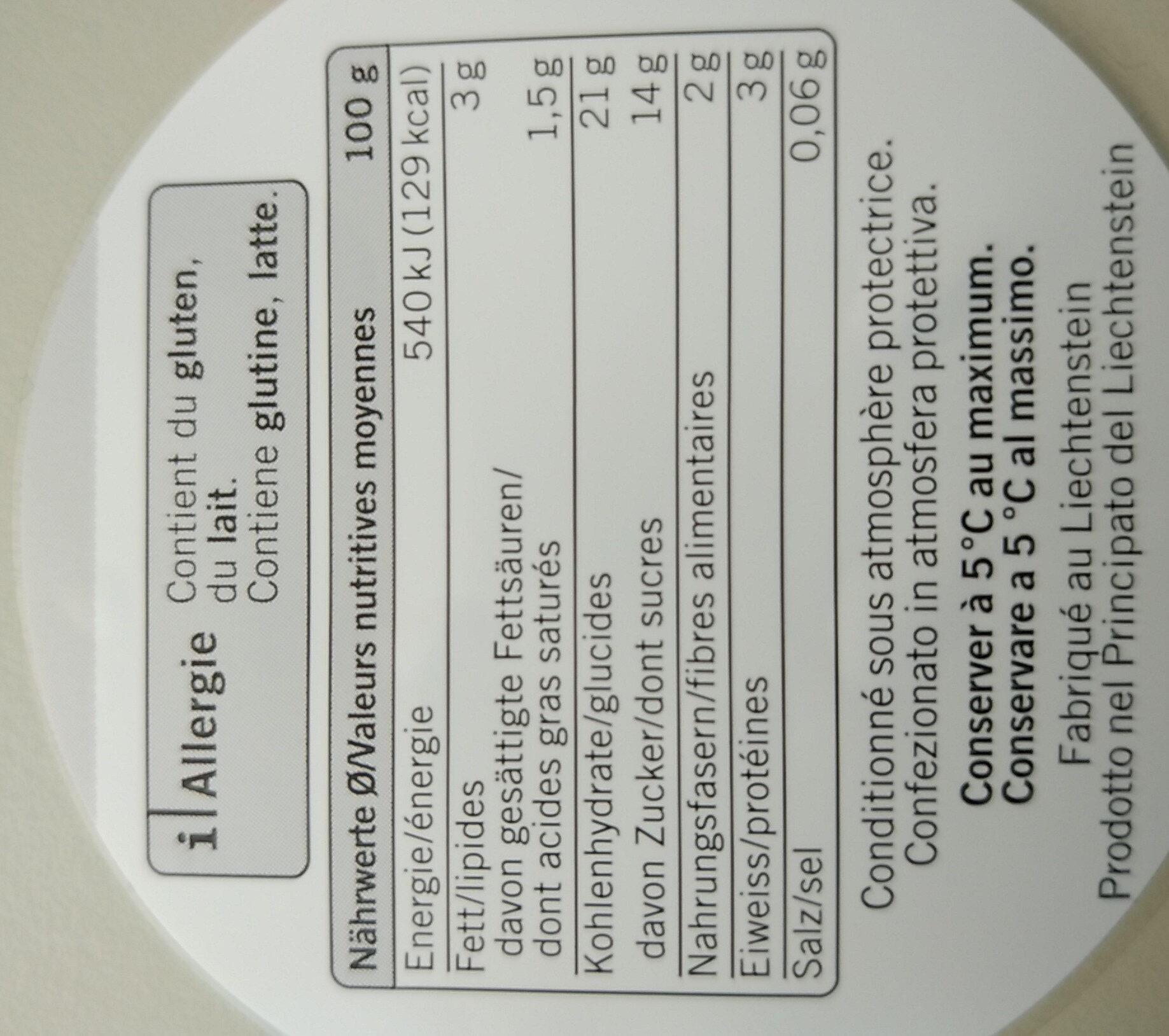 Birchermuesli - Informations nutritionnelles