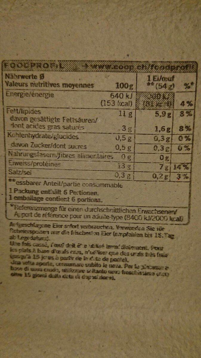 6 oeufs L bio - Informations nutritionnelles - fr