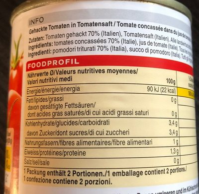 Pomodori triturati - Nutrition facts - fr