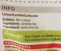 Lentilles - Ingrediënten