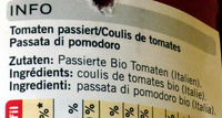 Passata di pomodoro - Inhaltsstoffe - fr