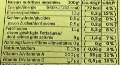 4 Oeufs - Nutrition facts - fr