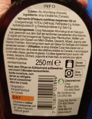 Sirop d'érable bio - Ingrediënten - fr