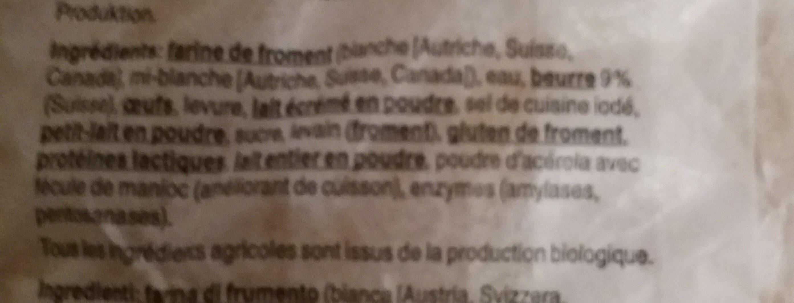 Tresse au beurre bio - Ingredients