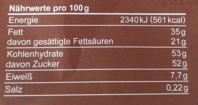 Die Gute Schokolade - Nutrition facts - de