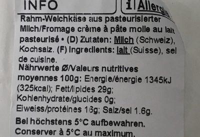 Brie Suisse à la crème - Ingrédients