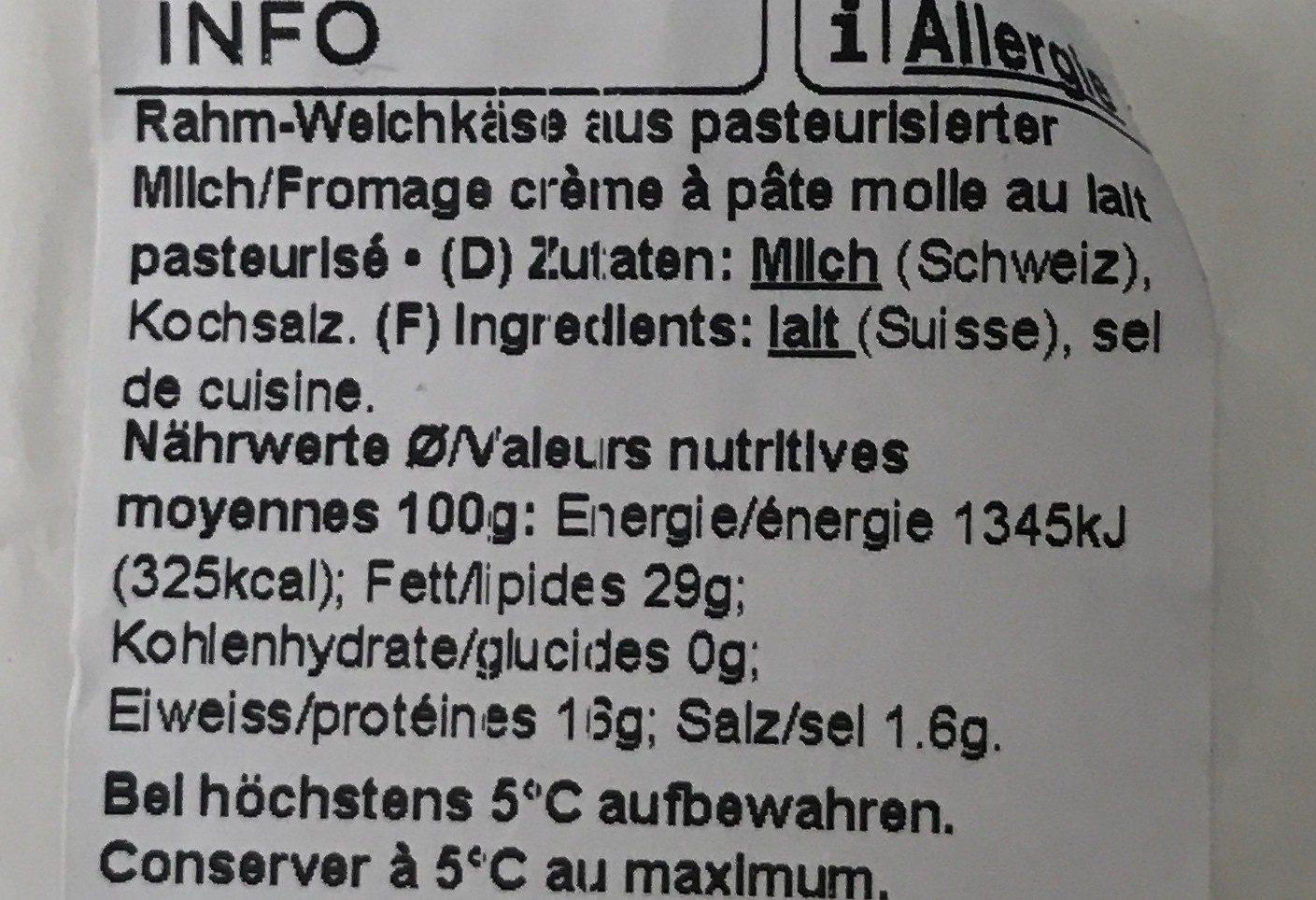 Brie Suisse à la crème - Ingrédients - fr