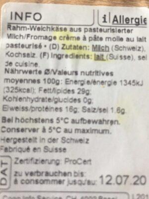 Brie Suisse à la crème - Informations nutritionnelles