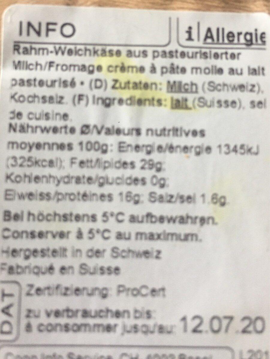Brie Suisse à la crème - Informations nutritionnelles - fr