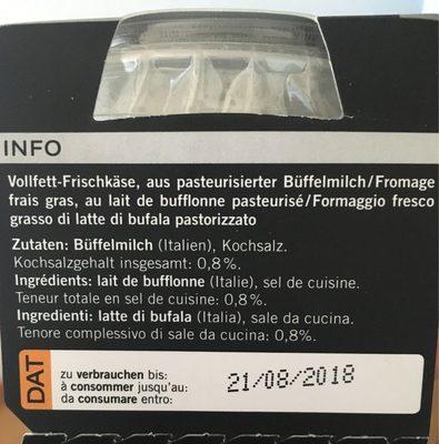 Mozzarella di Bufala - Ingredients