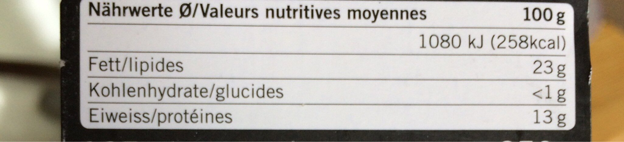 Mozzarella di Bufala - Valori nutrizionali - de