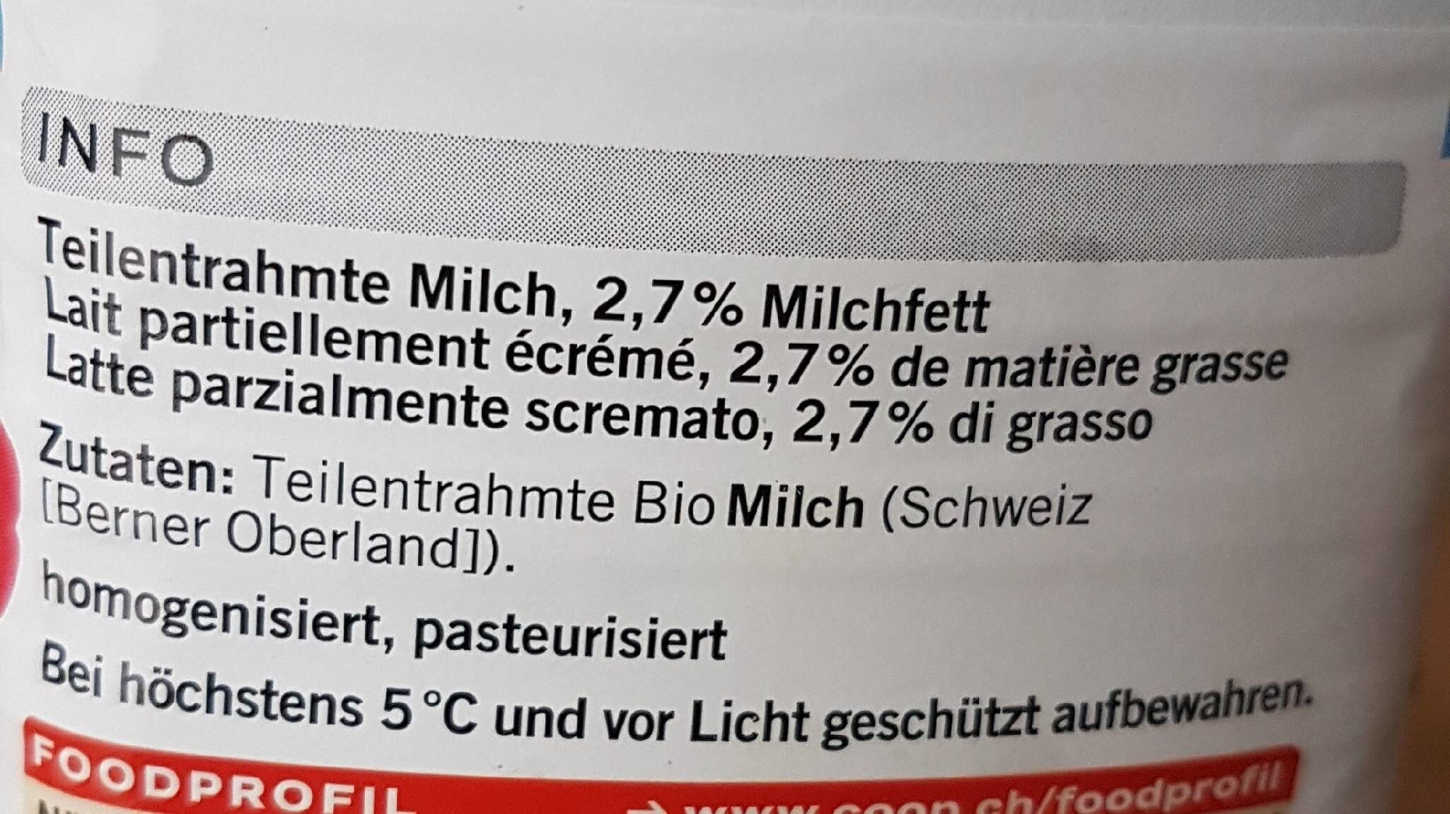Bärner Trinkmilch - Ingrediënten - fr