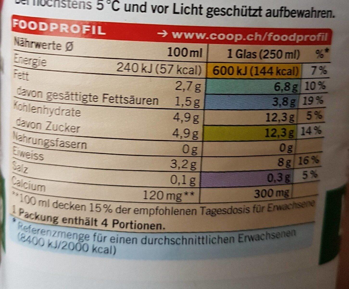 Bärner Trinkmilch - Voedingswaarden - fr