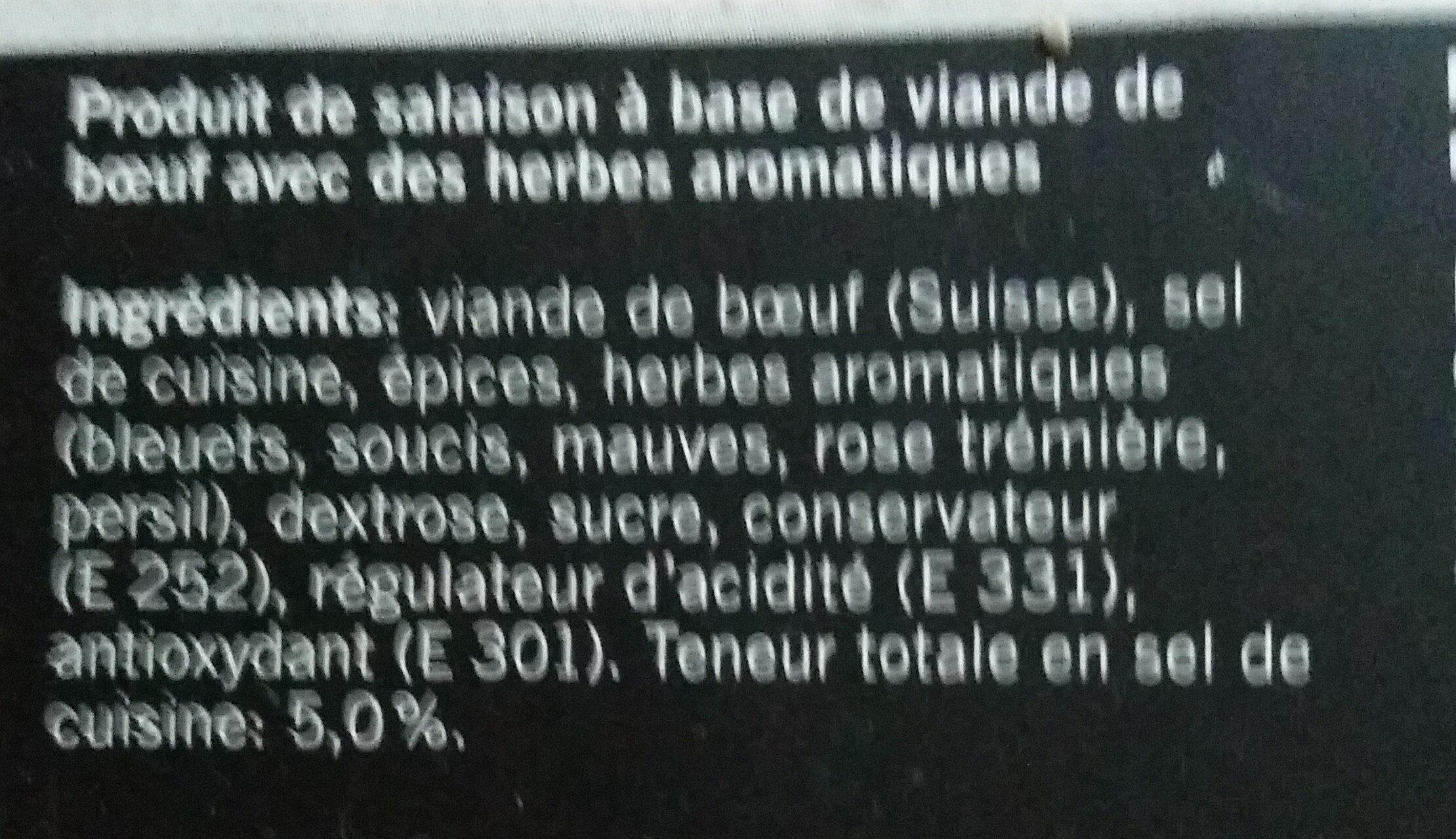 Viande des Grisons aux herbes - Ingredienti - fr