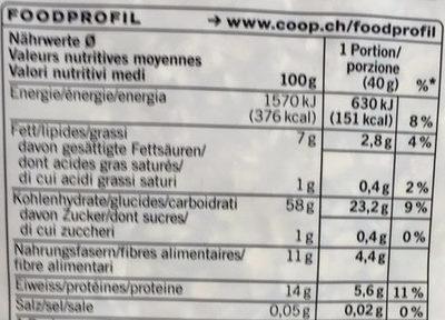 Flocons d'avoine complète - Nutrition facts