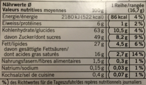Chocolat Cornflakes - Nutrition facts