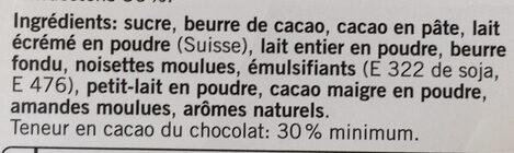 Chocolat Lait - Ingredients