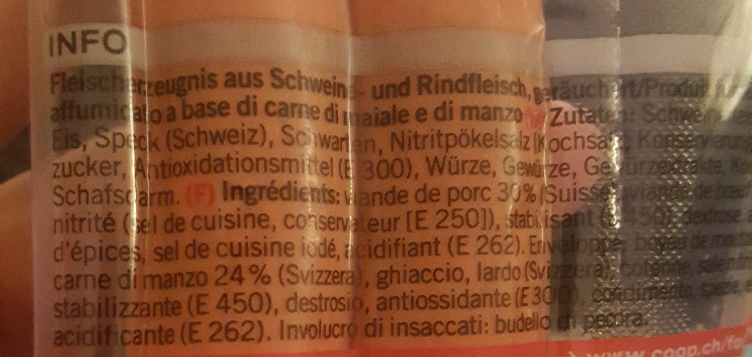 Saucisse de vienne - Ingredienti - fr