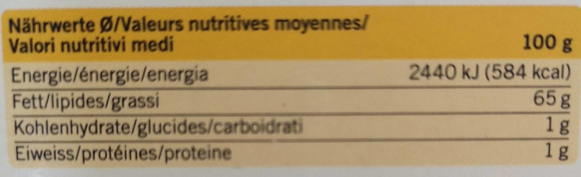 Beurre au yogourt - Voedigswaarden