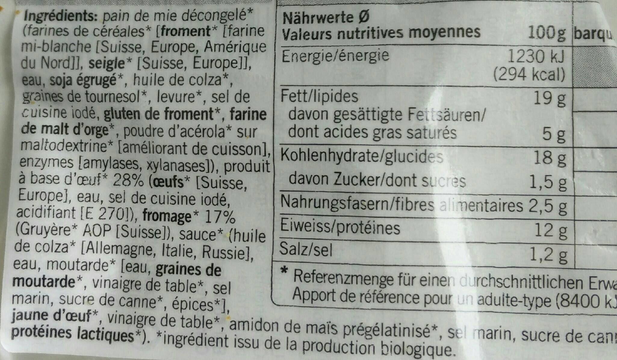 Sandwich oeuf et Le Gruyère AOP - Ingredienti - fr