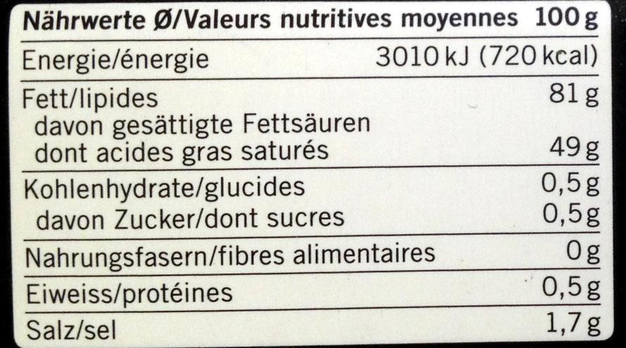 Beurre à la fleur de sel de Guérande - Valori nutrizionali - fr