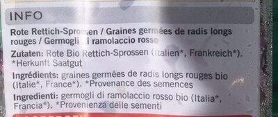 Germes de radis longs rouges - Ingrediënten - fr