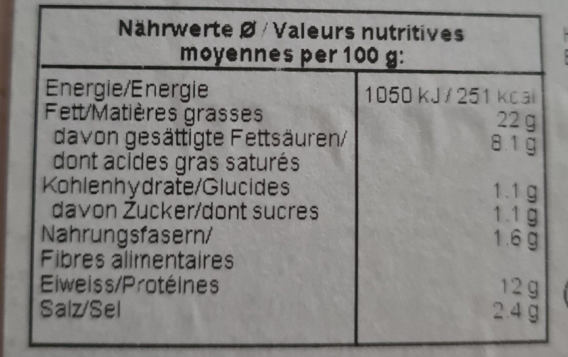 Fromage d'italie - Valori nutrizionali - fr
