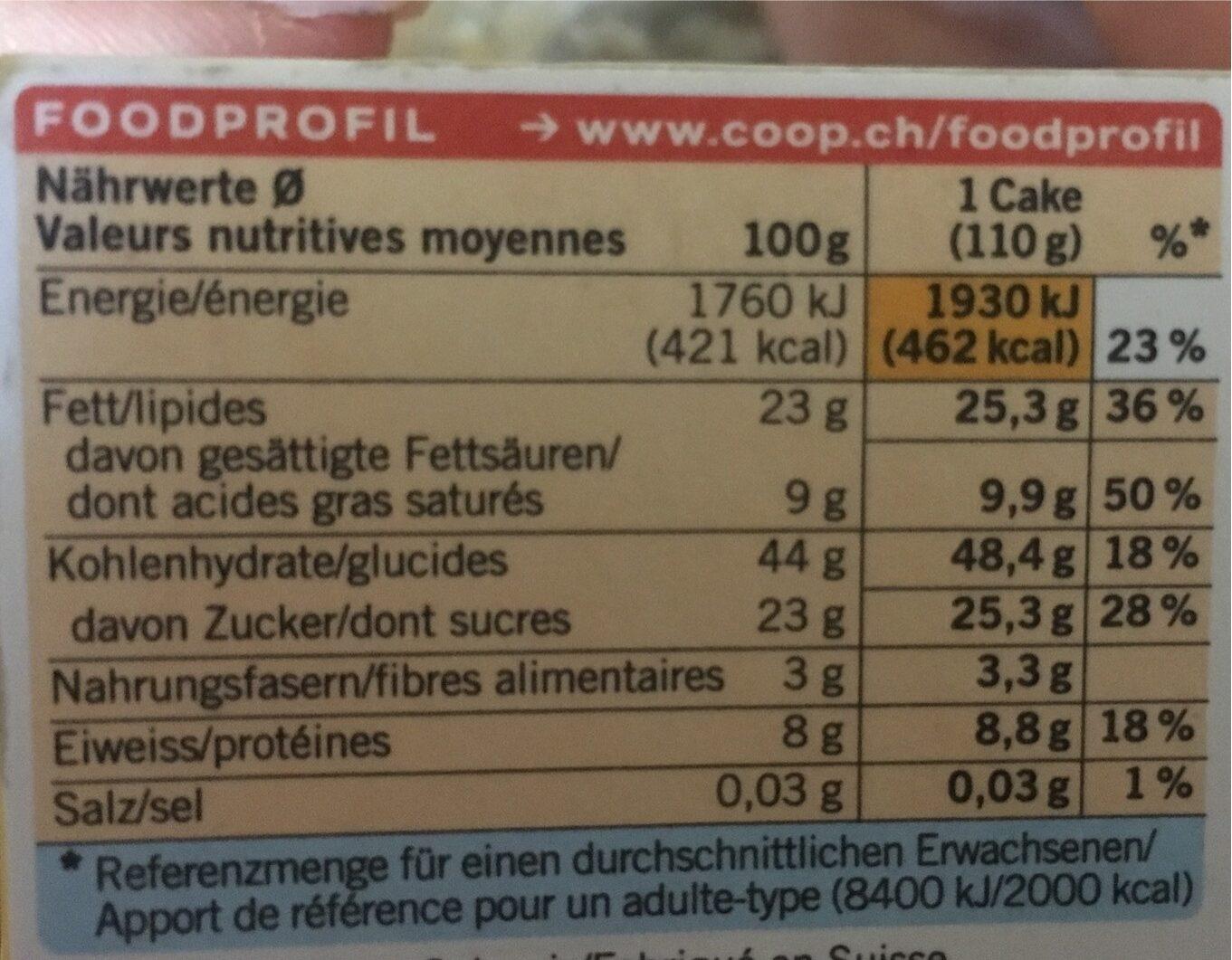 Zitronen Cake - Voedingswaarden