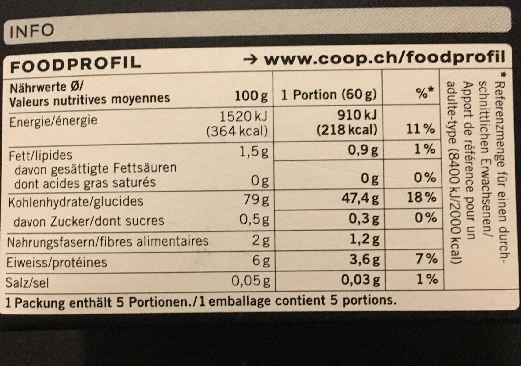 Polenta bianca - Valori nutrizionali - fr