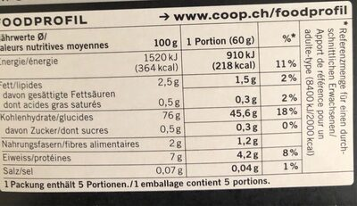 Polenta Bramata - Valori nutrizionali - fr