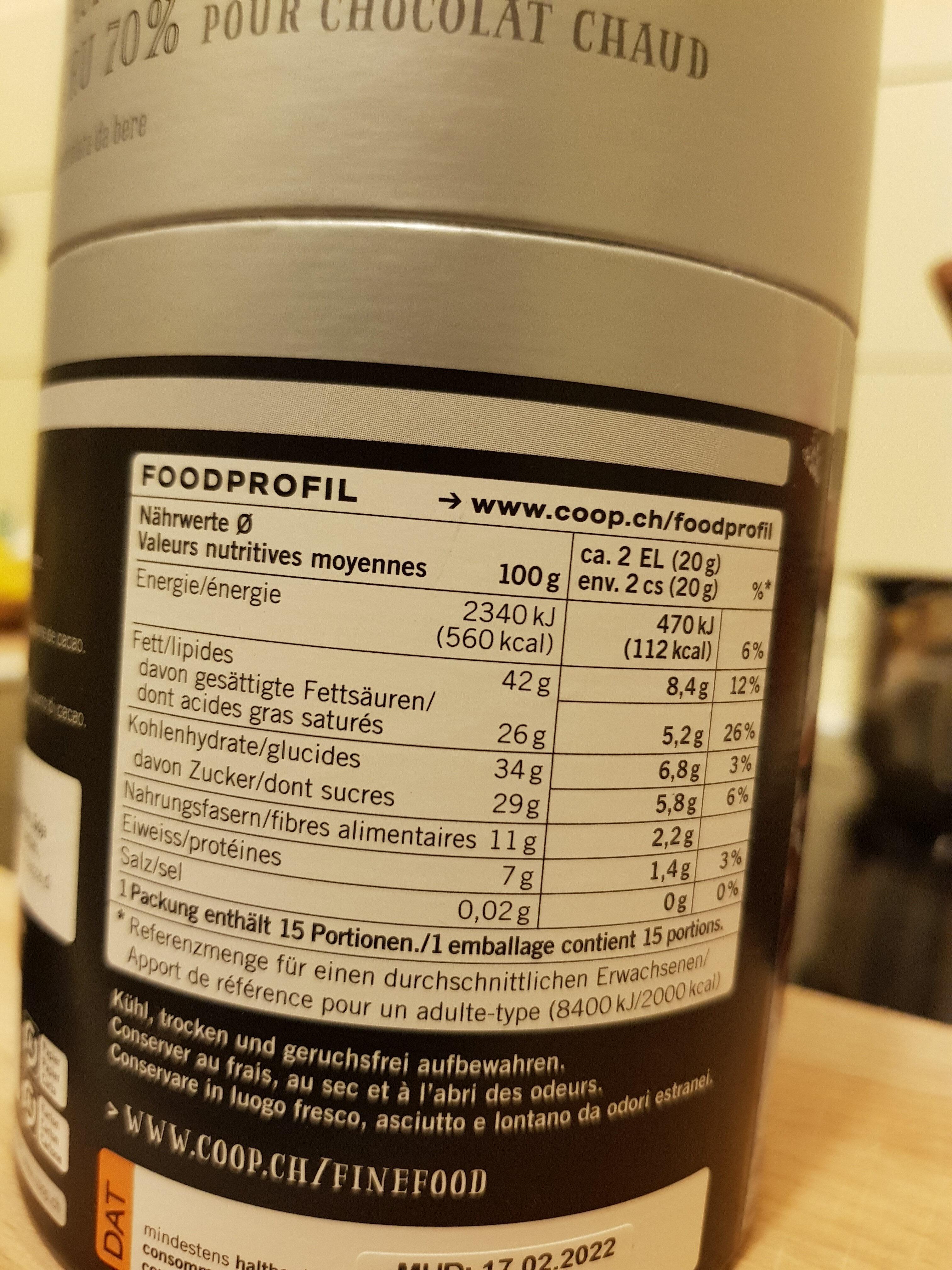 Perles dw Chocolat Cacao Nacional Ecuador Grand Cru 70^ - Informations nutritionnelles - fr