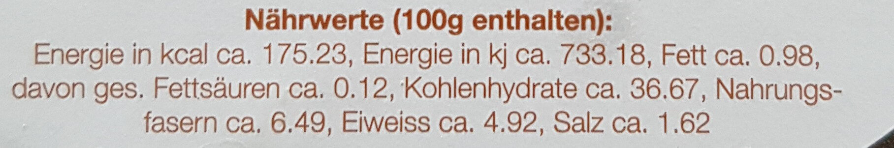 Simpilär Rogenbrot - Nutrition facts - de