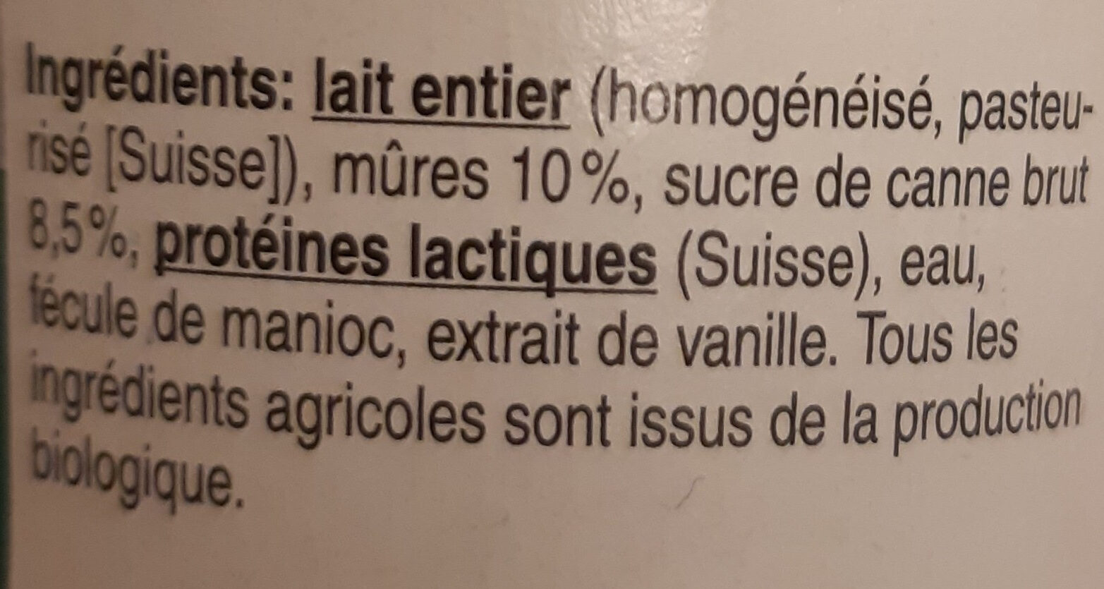 Yaourt mûre bio - Ingredienti - fr