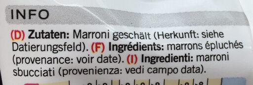 Marrons épluchés - Ingrédients - fr