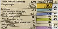 Marrons épluchés - Nutrition facts - fr