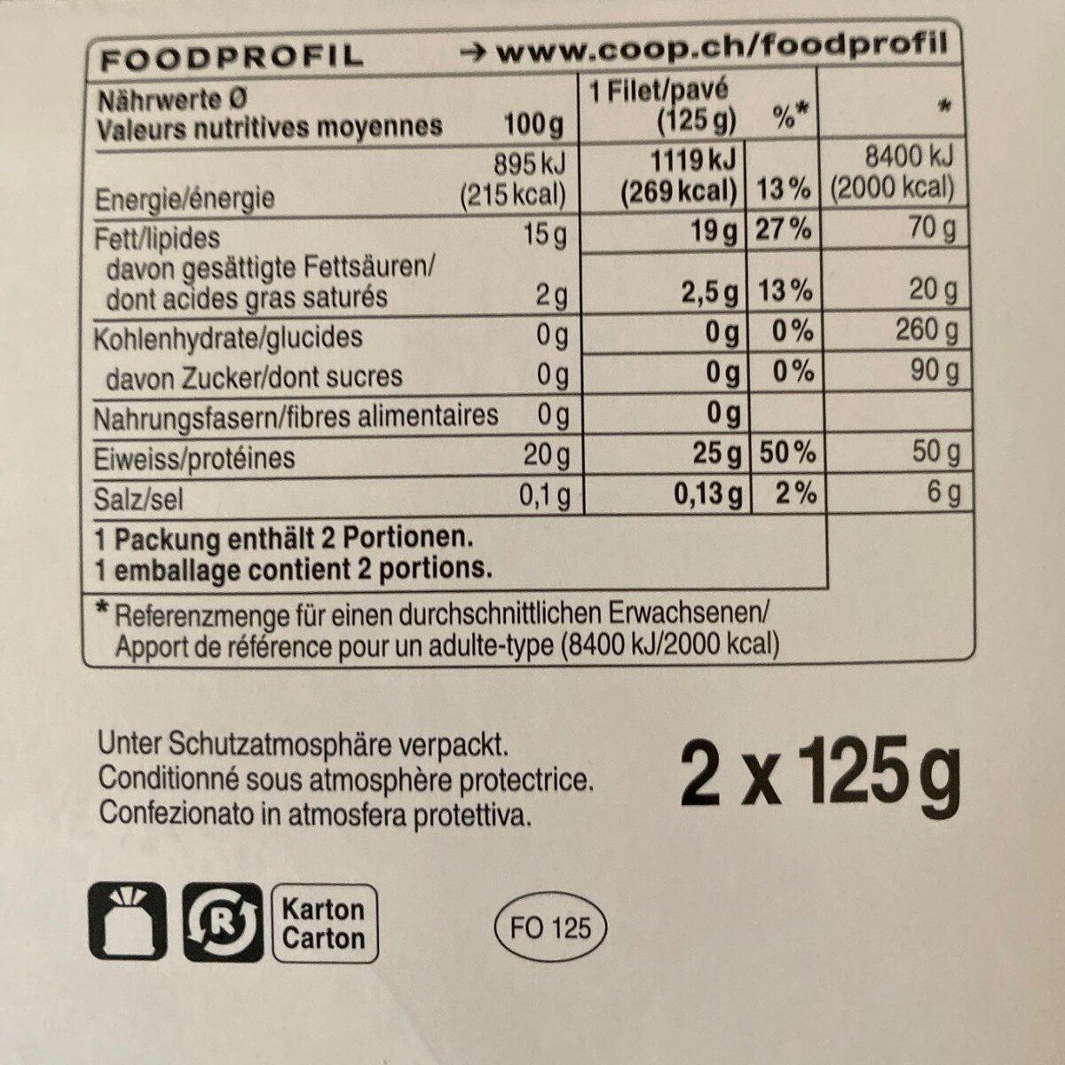Pavés de saumon - Nutrition facts
