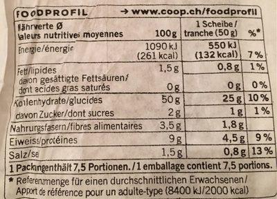 Pain Pagnol Bio - Valori nutrizionali - fr