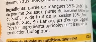 Smoothie Mangue et Fruit de la passion - Ingrediënten - fr