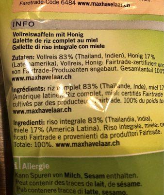 Jamadu galette de riz au miel - Ingrédients - fr
