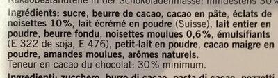 Chocolat Noisettes - Ingredients