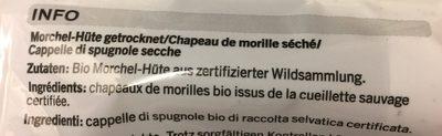 Chapeaux de morilles - Ingrédients - fr