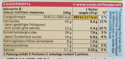 Chocolat noir aux amandes 60% cacao - Nutrition facts